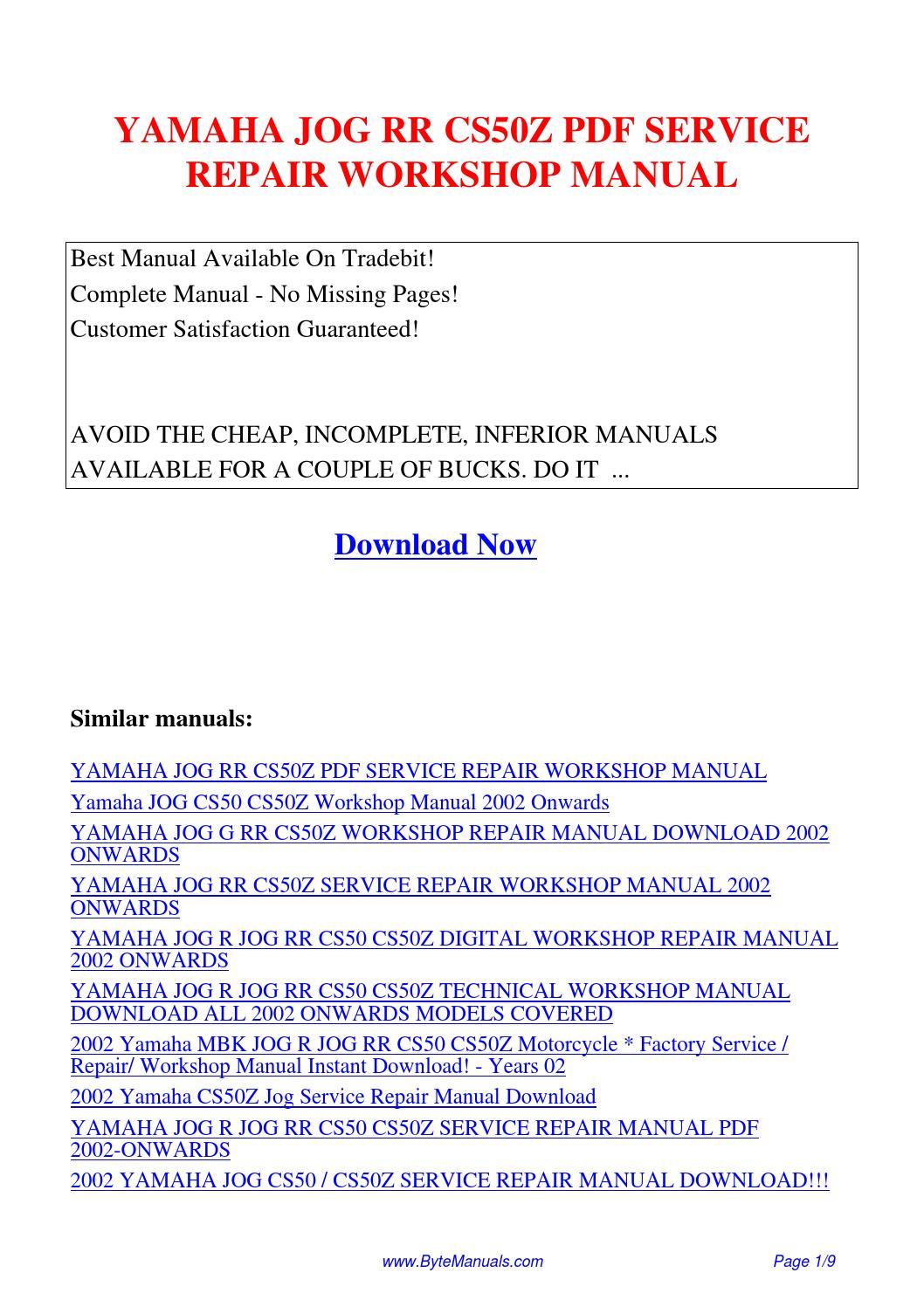 Yamaha Jog R Manual