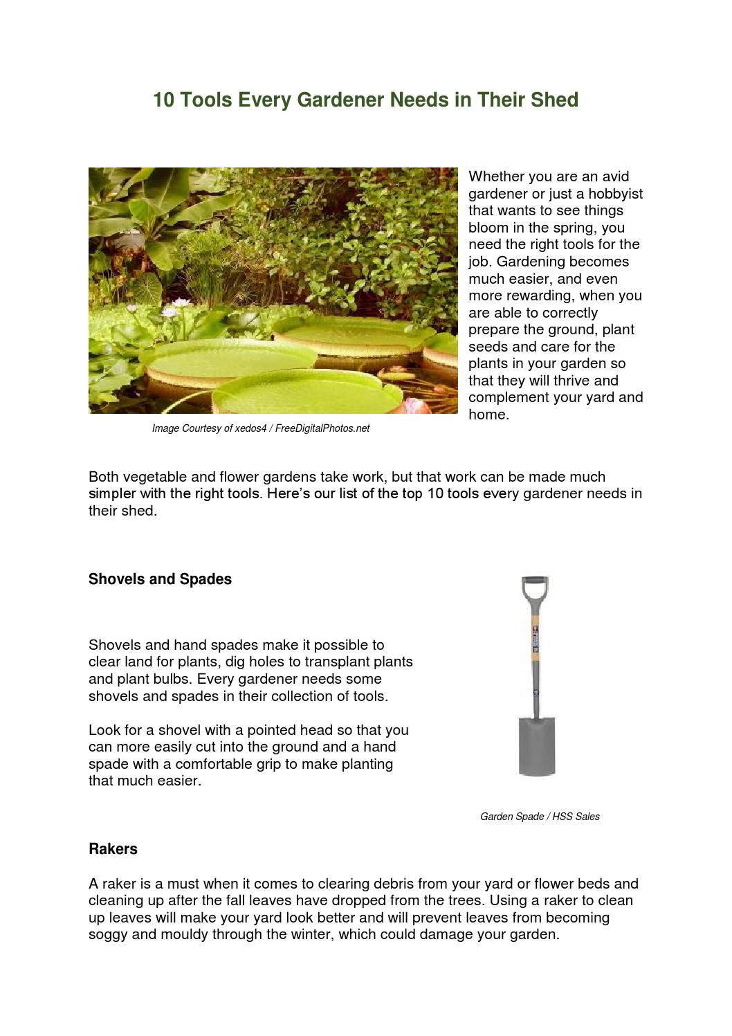 10 Gardening Tools You Need in Your Shed by HSS Sales - issuu