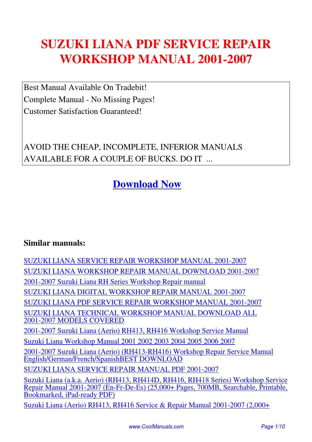 SUZUKI LIANA SERVICE REPAIR WORKSHOP MANUAL 2001-2007.pdf by Linda Pong -  issuu