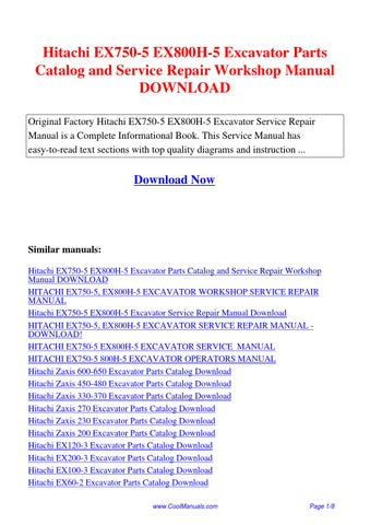 hitachi zx70 3 zx70lc 3 zx70lcn 3 excavator service manual