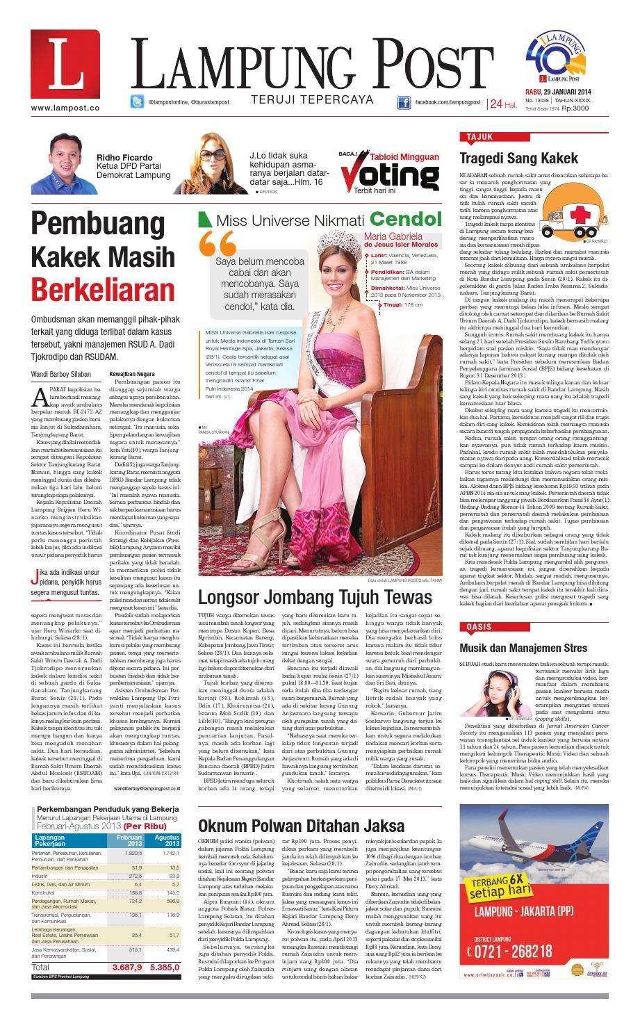 Lampung Post Rabu 29 Januari 2014 By Issuu Rkb Tegal Madu Mongso