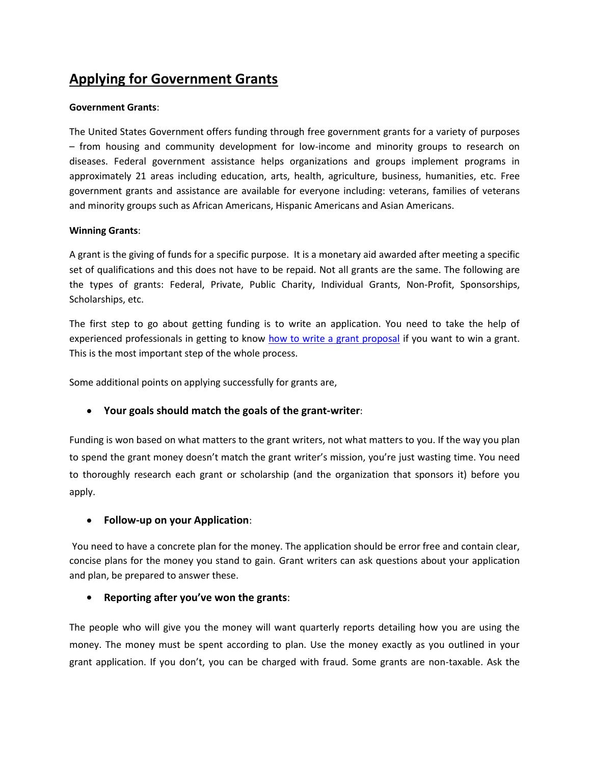 Applying for Government Grants by tombill444 - issuu
