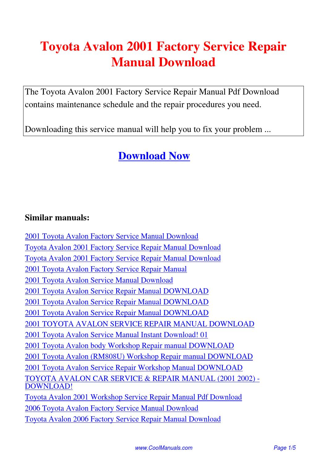 Toyota Avalon 2001 Factory Service Repair Manual.pdf by Linda Pong - issuu