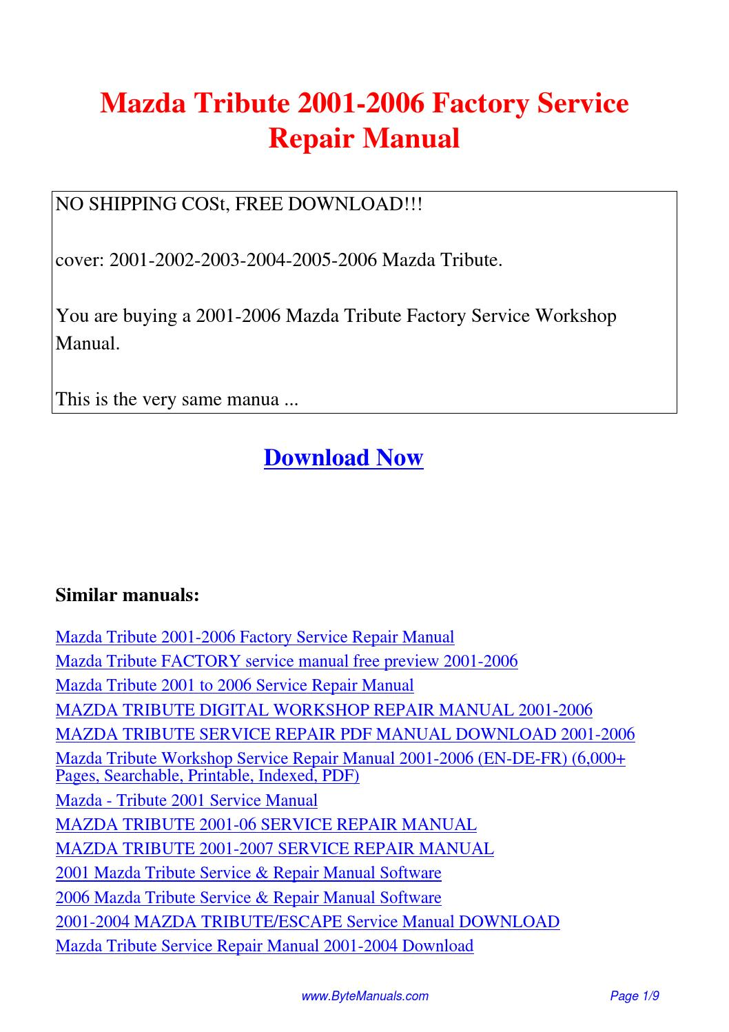 Mazda Tribute 2001-2006 Factory Service Repair Manual.pdf by Ging Tang -  issuu