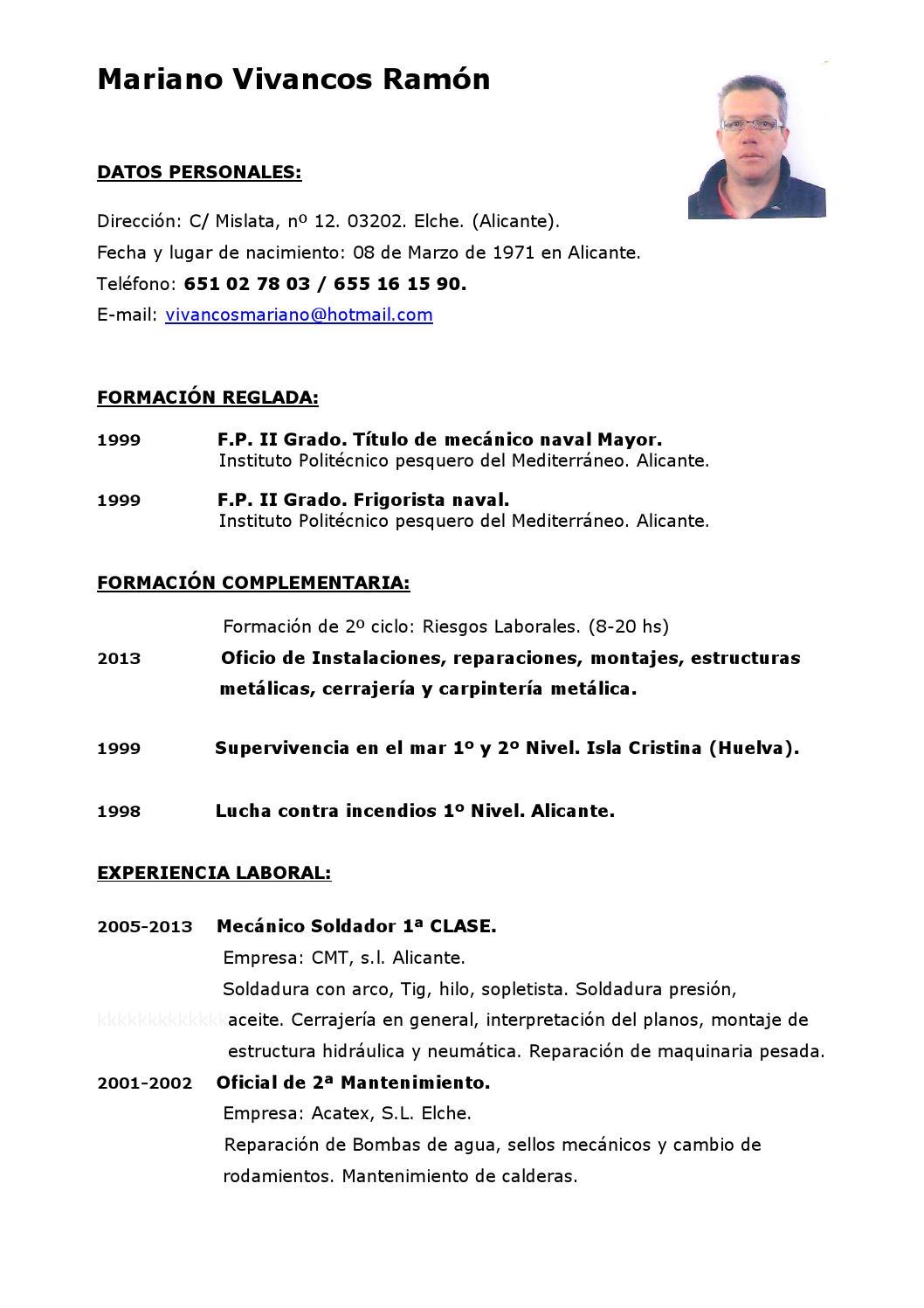 Excepcional Curriculum Vitae Para El Supervisor Del Soldador Imagen ...