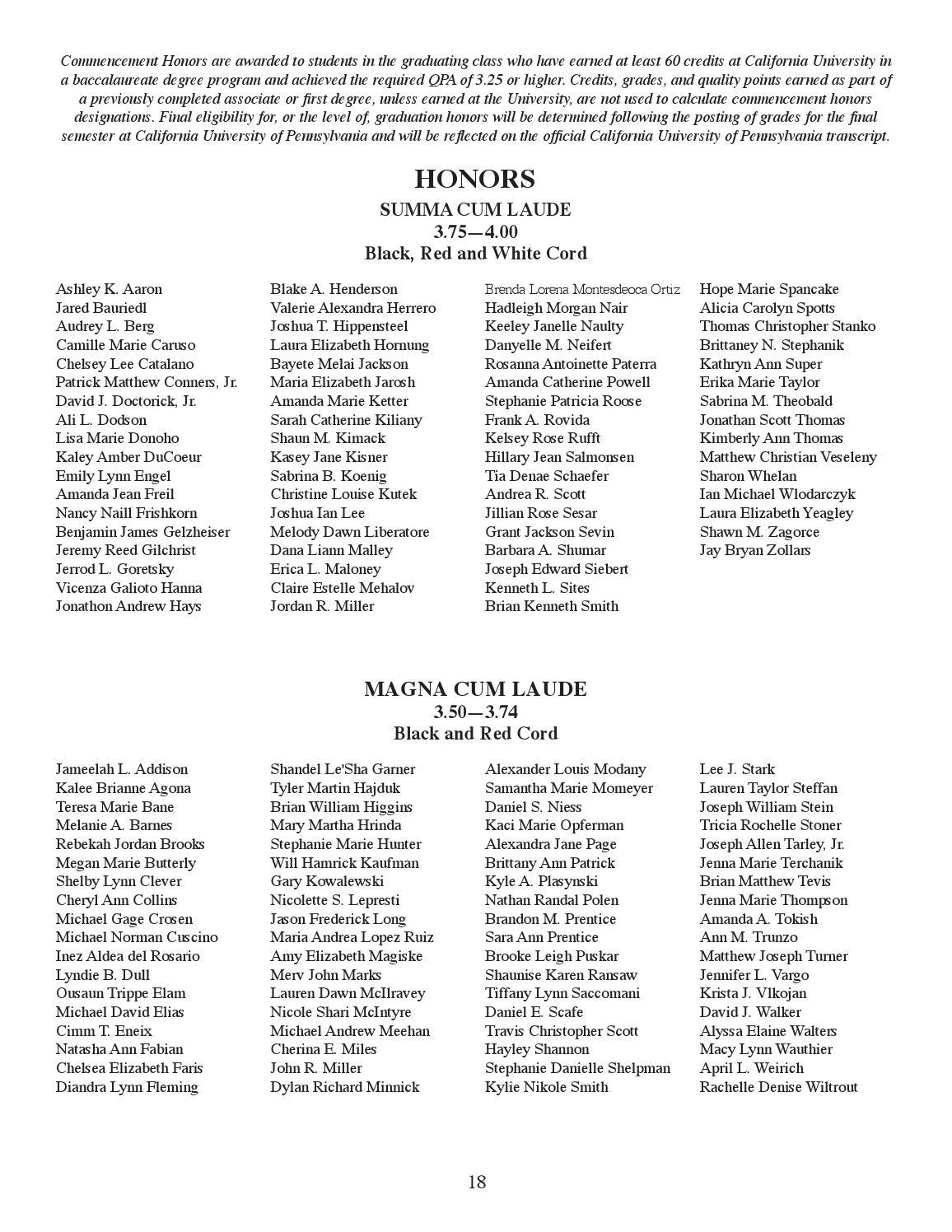 Sharon Cuscini.Cal U 2013 Winter Commencement Program By California University Of