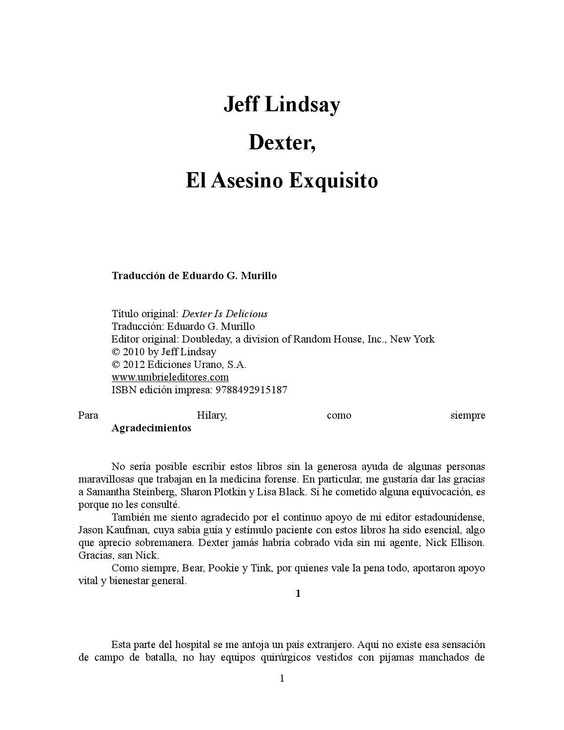 5 Dexter el asesino exquisito, Jeff Lindsay by josé antonio bautista ...