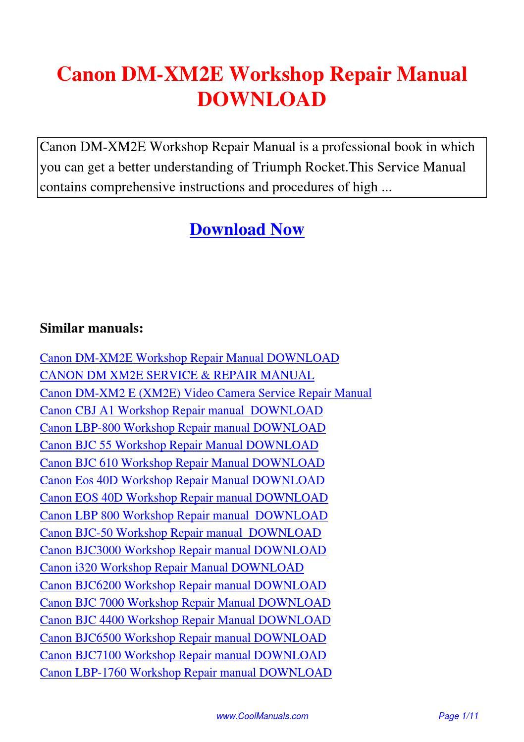 Canon Dm-xm2e Workshop Repair Manual Pdf By Linda Pong
