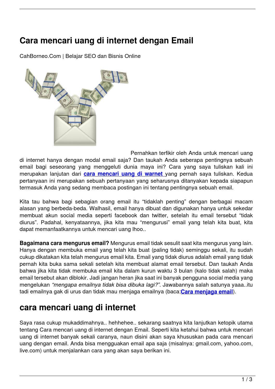 Cara mencari uang di internet dengan Email by cah qeenee ...
