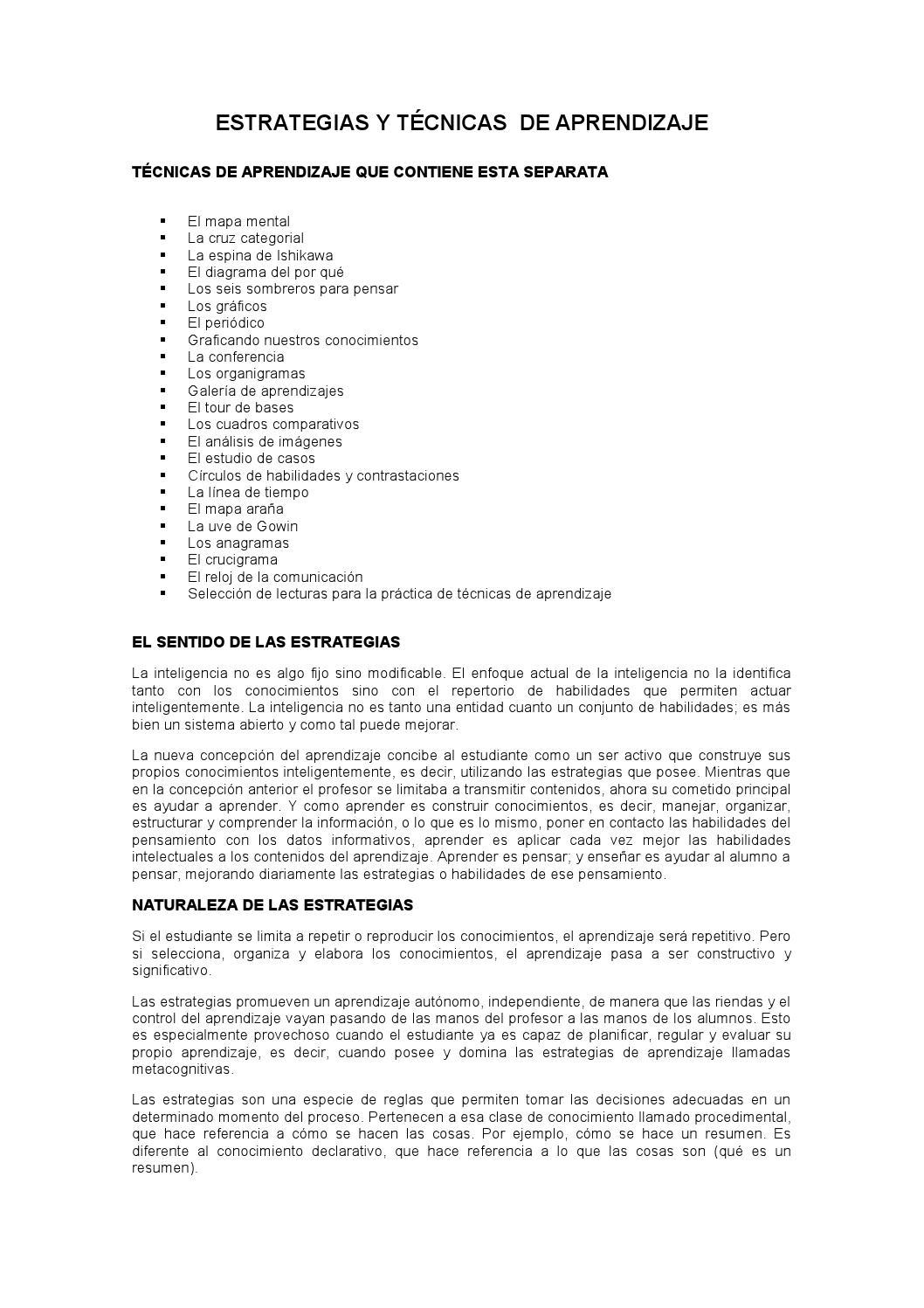 Estrategias y tecnicas de aprendizaje by camacias - issuu