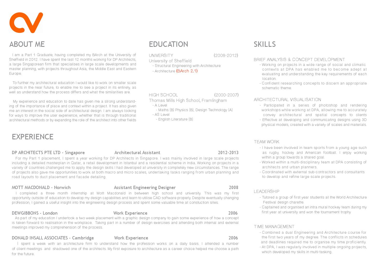 part 1 architecture cv curriculum vitae by tomgibbons