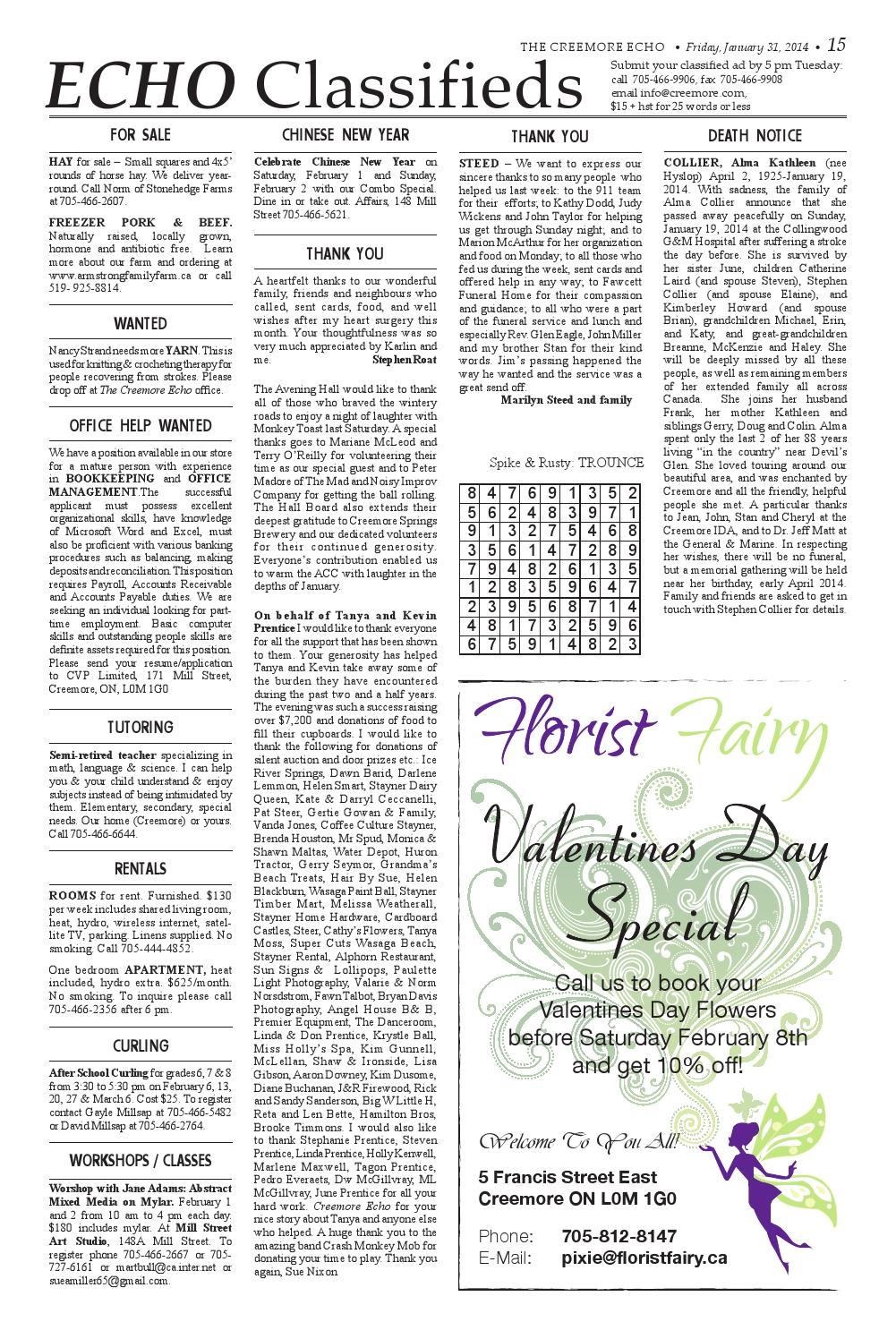 January 31, 2014 classifieds by The Creemore Echo - issuu