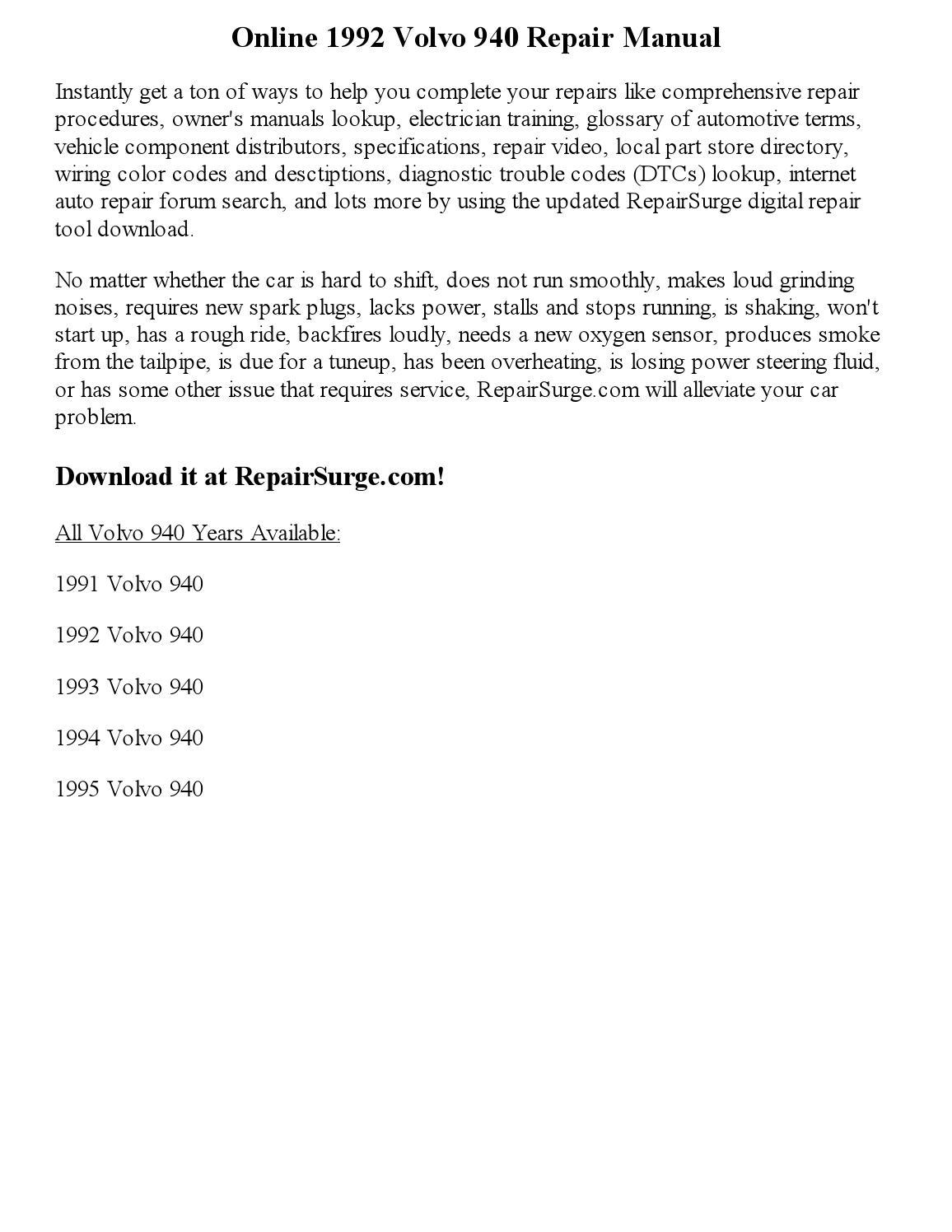 1992 Volvo 940 Repair Manual Online By Sweyer Issuu 1994 Auto Car Wiring Schematic