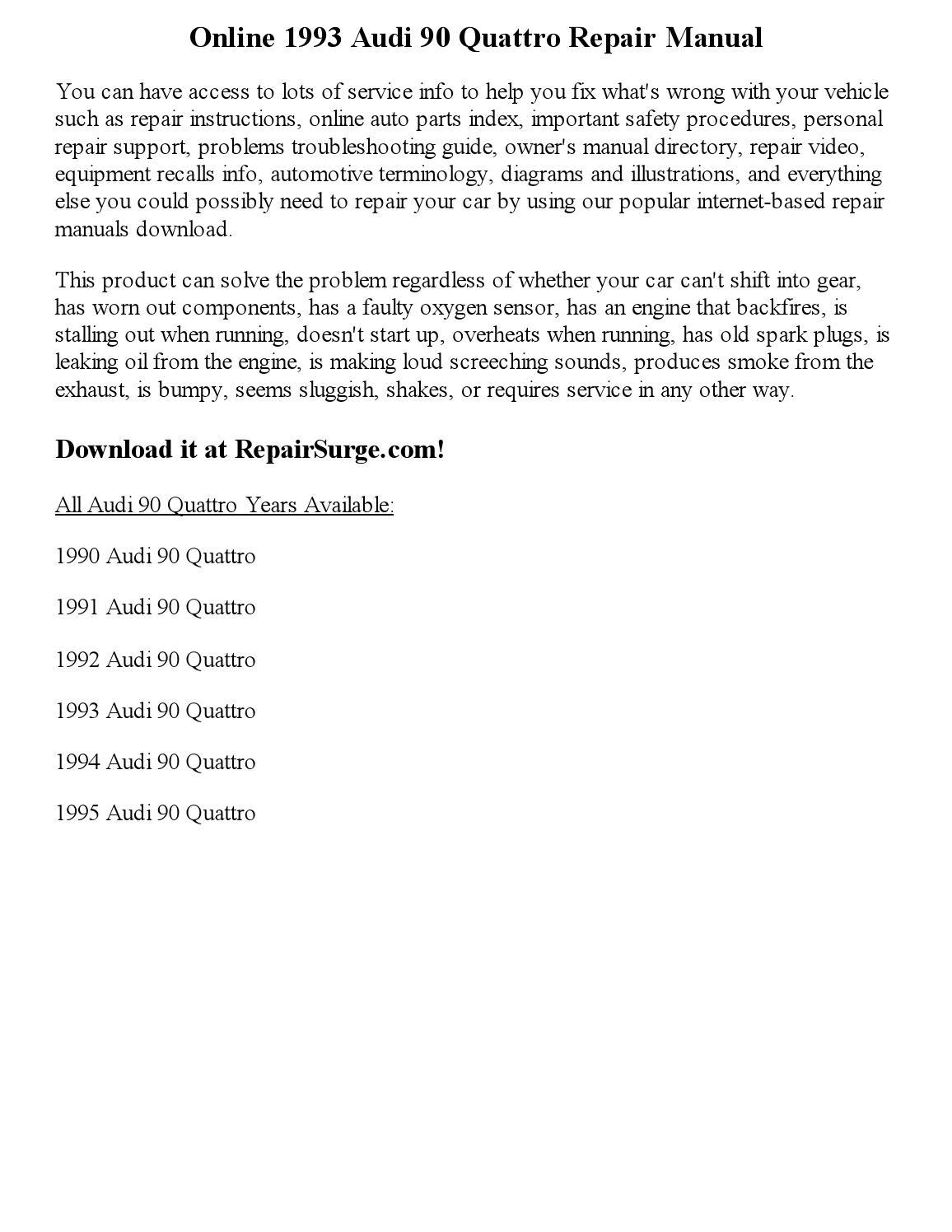 1993 audi 90 quattro repair manual online