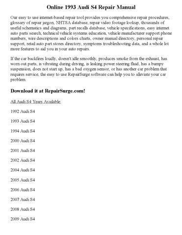 1993 audi s4 repair manual online by sweyer - issuu