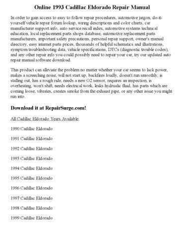 1993 cadillac eldorado repair manual online