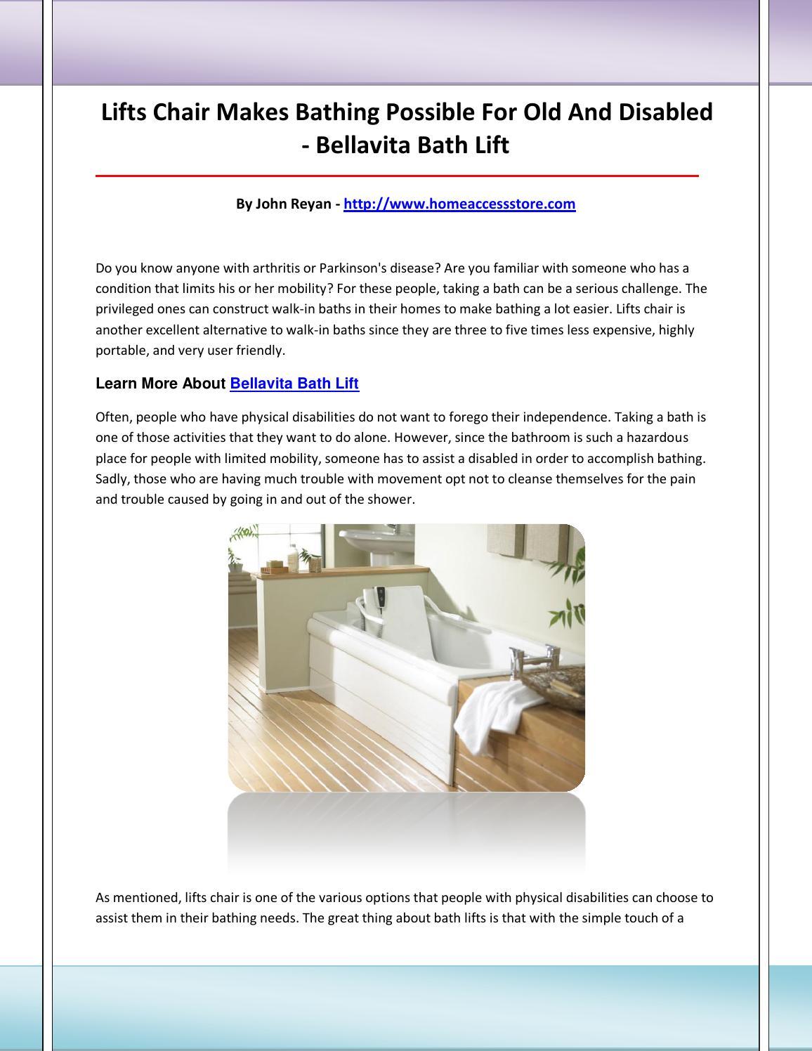 Bellavita Bath Lift By Bellavitabathlift Issuu