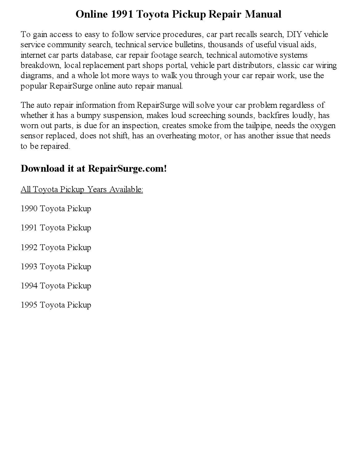 1991 toyota pickup repair manual online by Precious Pim - issuu on