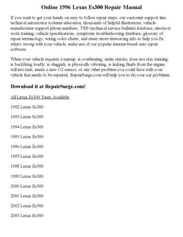 1996 lexus es300 repair manual online by Joseph Lewis - issuu