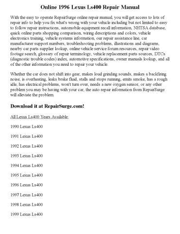 1996 lexus ls400 repair manual online by Joseph Lewis - Issuu