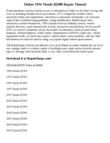 mazda b3000 repair manual pdf