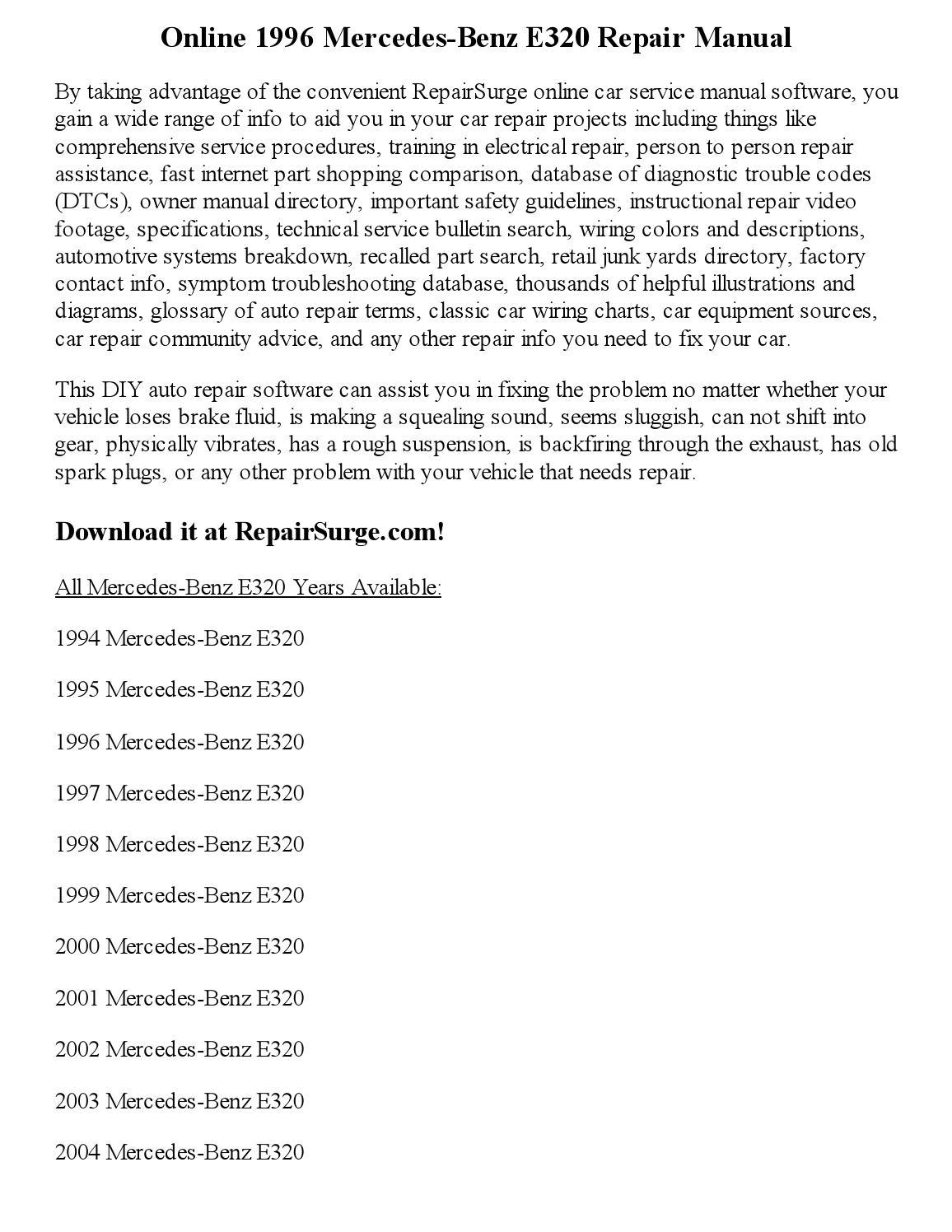 1996 Mercedes Benz E320 Repair Manual Online By Joseph