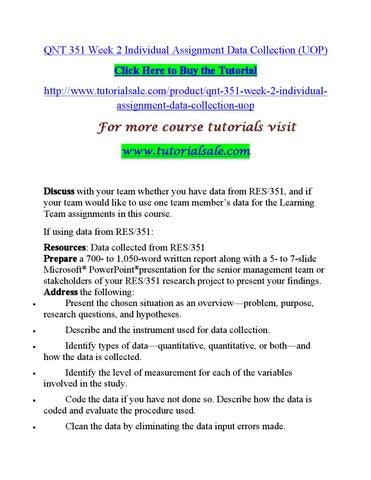 QNT 351 Version 3 Quantitative Analysis for Business