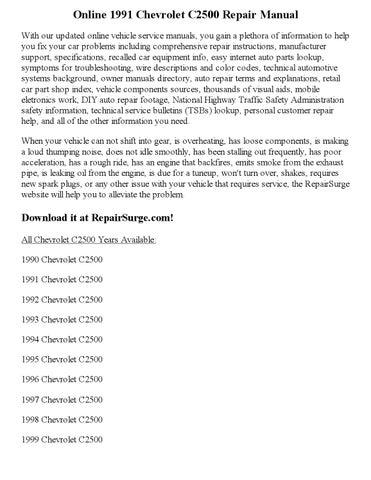 1991 Chevrolet C2500 Repair Manual Online By EricDver Issuu