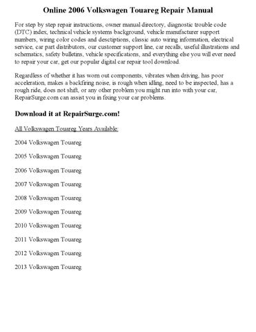 2005 vw touareg service manual