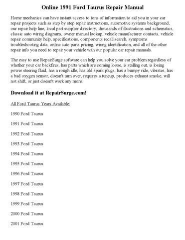 1991 ford taurus repair manual online by ericdver issuu rh issuu com