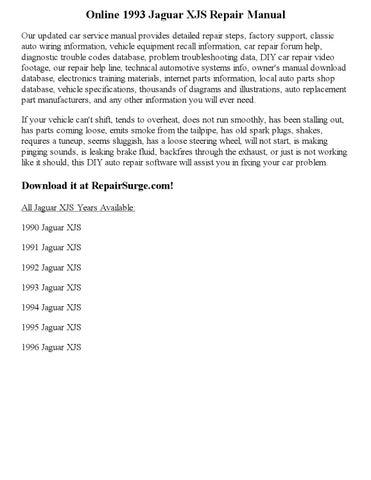 1994 jaguar xjs repair manual