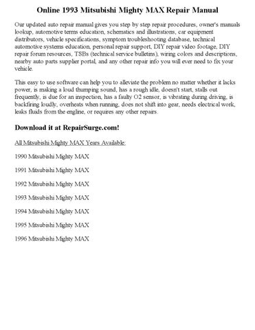 1993 mitsubishi mighty max repair manual online by wayne darton issuu rh issuu com mitsubishi mighty max service manual 1994 mitsubishi mighty max repair manual