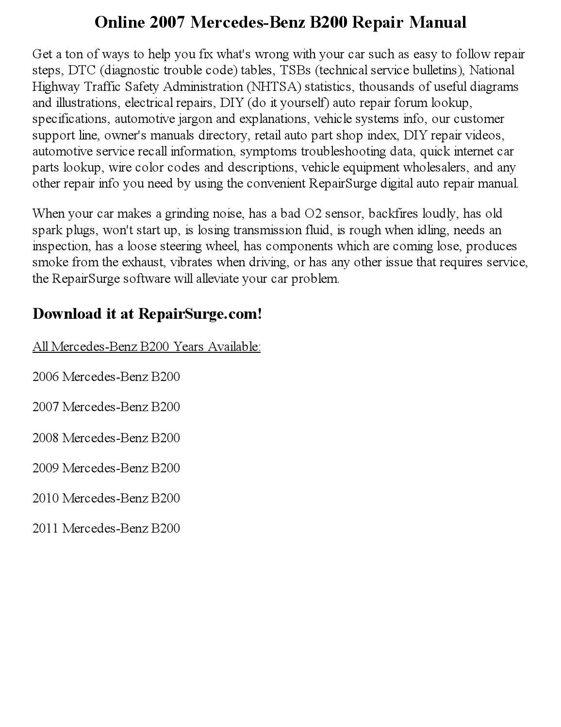 2007 Mercedes Benz B200 Repair Manual Online By Newyork444