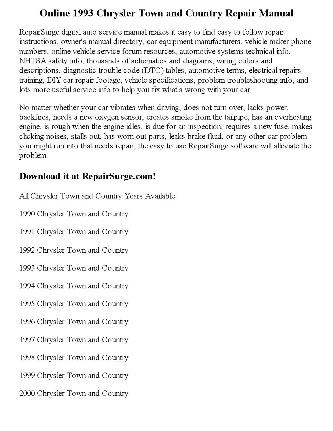 1993 chrysler town and country repair manual online by Jackson Paul - issuu