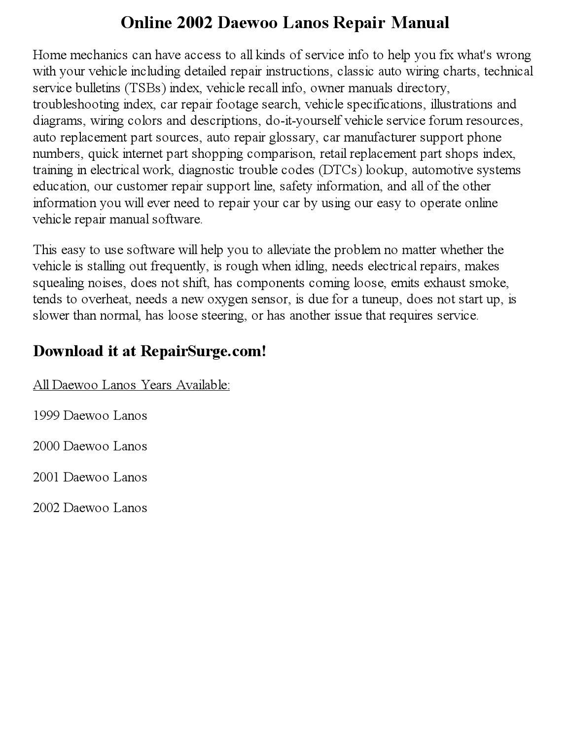 2002 daewoo lanos repair manual online by parker issuu. Black Bedroom Furniture Sets. Home Design Ideas