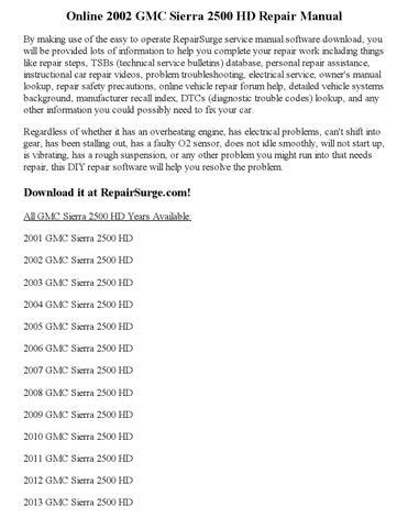 Gmc yukon xl 1500 repair manual 2000 2011.