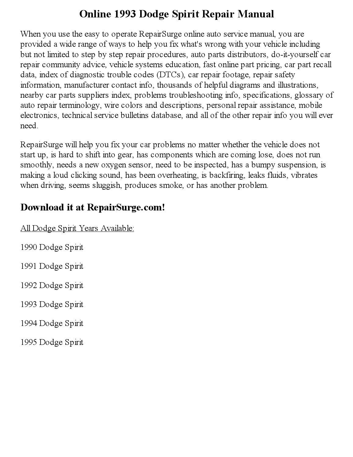 1993 Dodge Spirit Repair Manual Online By Jackson Paul Issuu 1990 Wiring Diagram