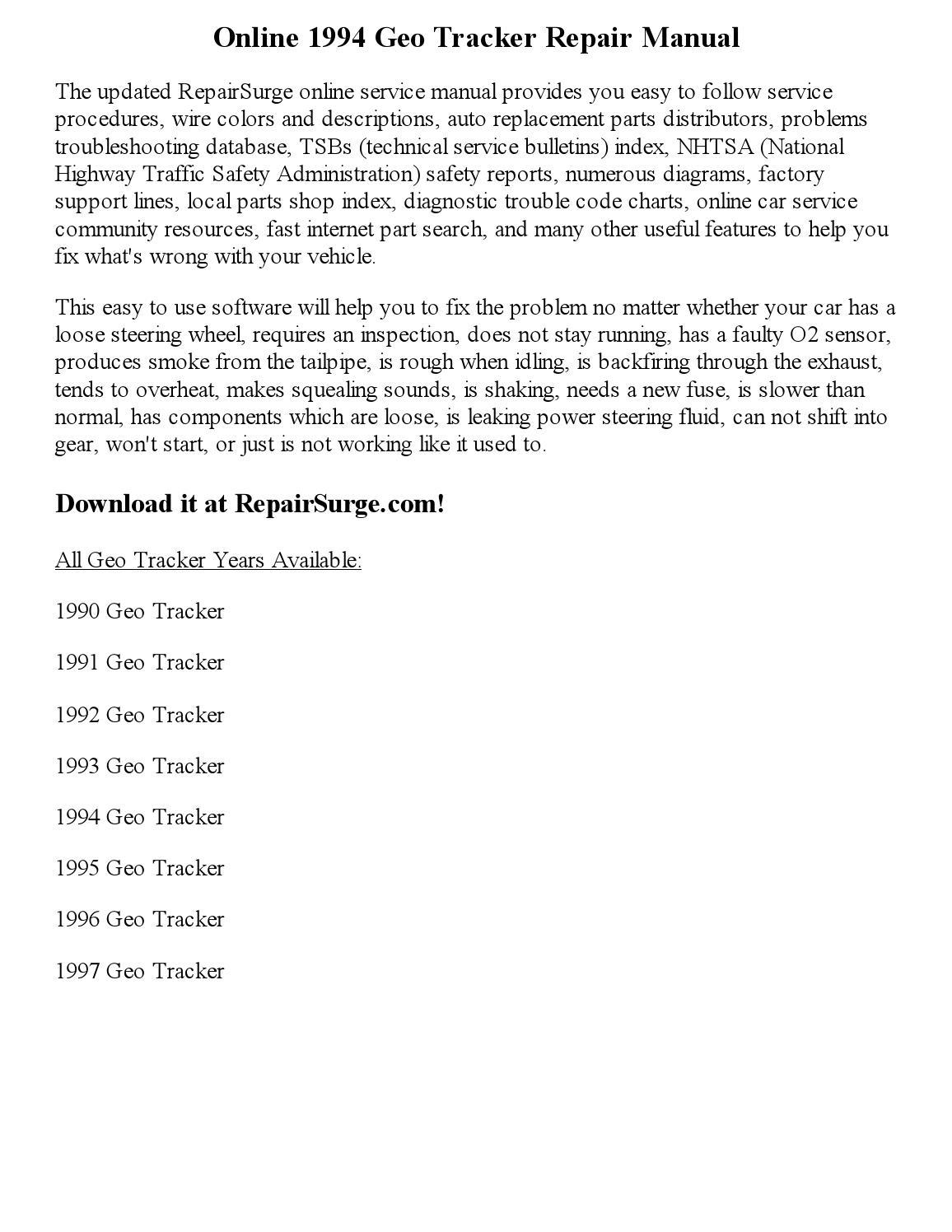 1994 Geo Tracker Repair Manual Online By Robertjames Smith