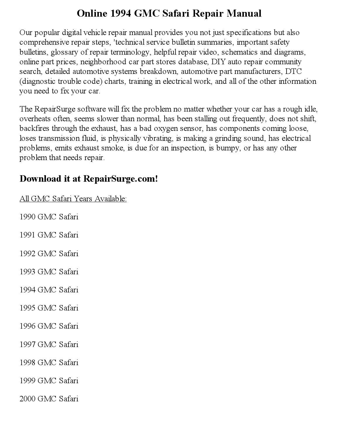 1994 Gmc Safari Repair Manual Online By Robertjames Smith
