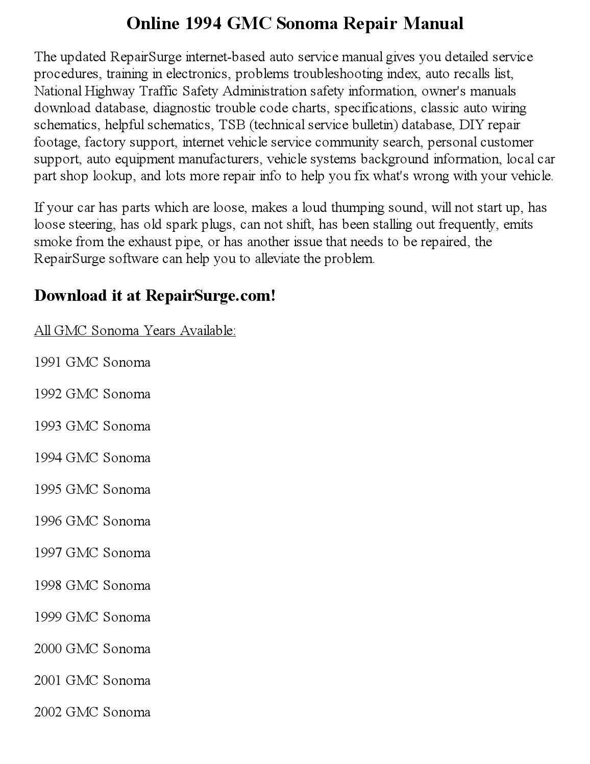 1994 Gmc Sonoma Repair Manual Online By Robertjames Smith Wiring Diagram