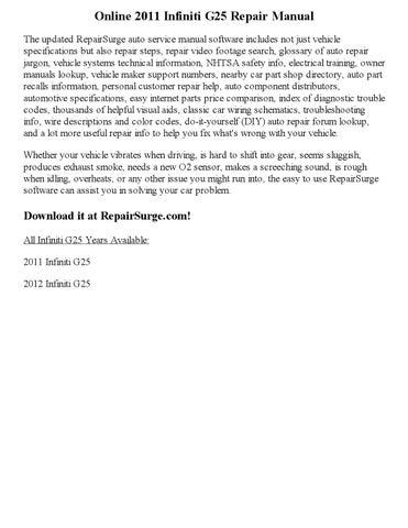 2011 infiniti g25 repair manual