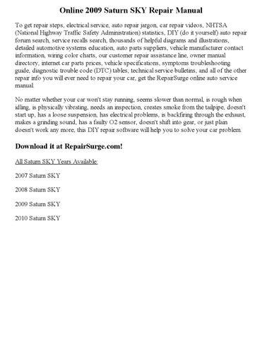 saturn sky repair manual