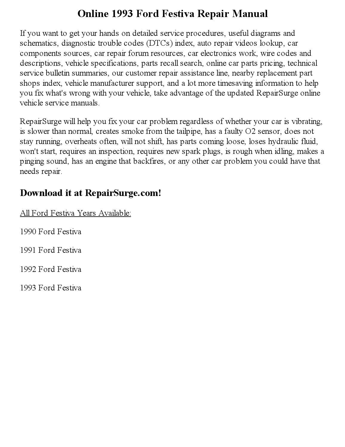 1993 Ford Festiva Repair Manual Online By Jackson Paul Issuu 93 Wiring Diagram
