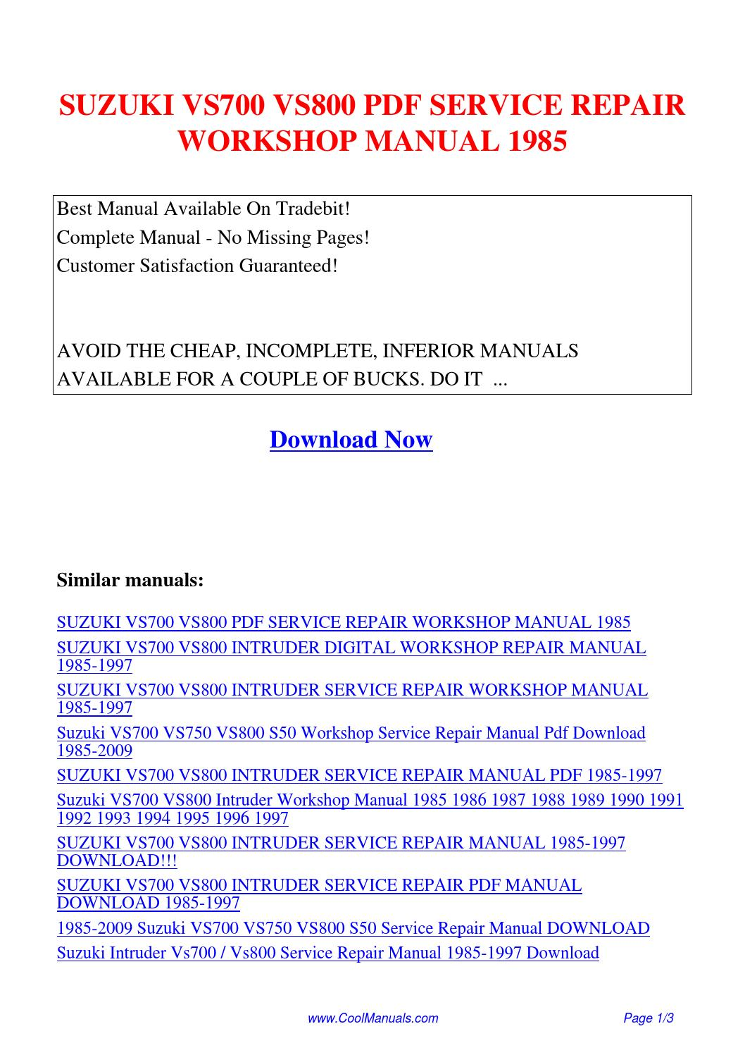SUZUKI VS700 VS800 SERVICE REPAIR WORKSHOP MANUAL 1985.pdf by Linda Pong -  issuu