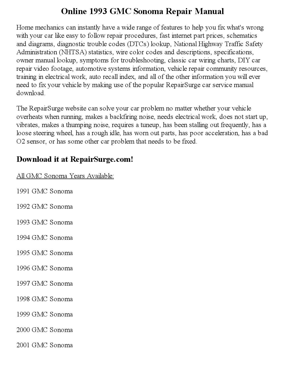 1993 gmc sonoma repair manual online by jackson paul issuu