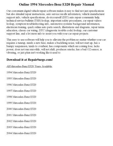 1994 mercedes benz e320 repair manual online by clark andrew issuu rh issuu com 1996 E300D MPG 1996 Mercedes