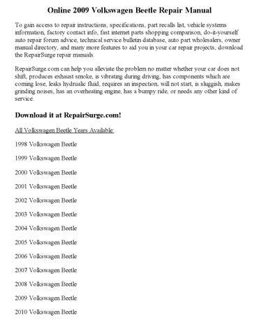 2009 volkswagen beetle repair manual online by Carry_Dev - issuu