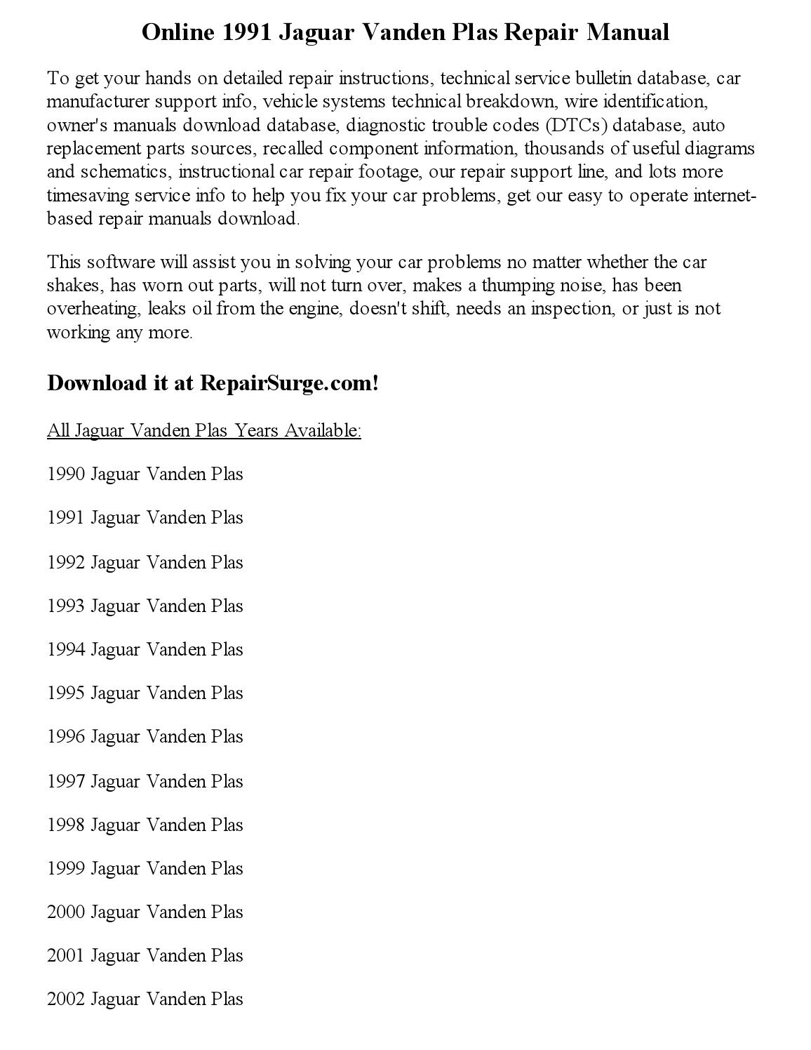 1991 jaguar vanden plas repair manual online by glen d