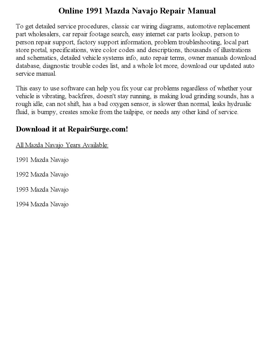 1991 Mazda Navajo Repair Manual Online by Glen D Charron - issuu