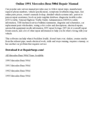 1991 Mercedes Benz 500sl Repair Manual Online By Glen D